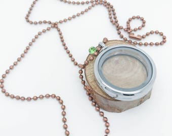 30mm Floating Locket - Copper ball chain with green crystal