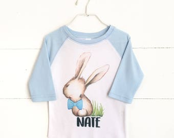 Personalized Easter Shirt, Boys Easter Outfit, Baby Boy Easter, My 1st Easter, Blue Raglan, Boys Spring Shirt, Kids Easter Shirt