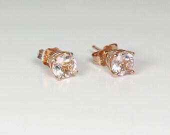 Natural Morganite Earrings 14K Rose Gold / Morganite Stud Earrings / Morganite Jewelry