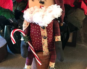 Primitive Santa Doll Decoration with Fuzzy Beard and Holding Candy Cane, Handmade Santa Doll