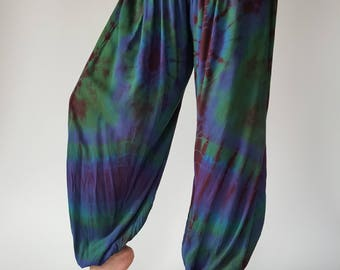 TD0141 Green Tie Dye Cotton Yoga Pants Super Soft