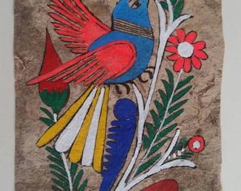 Mexican folk art authentic handmade parchment painting bird Azul sparrow 5x3