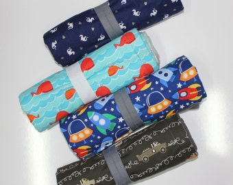 Boys Prints: Changing Pad, Waterproof Travel Size Changing Pad, Baby Changing Mat, On the Go Changing Mat, Dragon, Whales, Spaceships, Cars