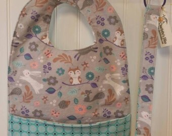 Toddler Pocket Bib & Pacifier Strap, Binkie Strap, Baby Bib, Baby Shower Gift