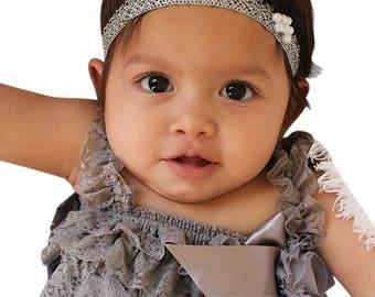 Girl Baby Headband, Silver Headband, Pearls Baby Headband, Infant Headband, Baby Headband, Newborn Headband, Toddler Headband