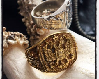 Etherial Handmade Russian Imperial Eagle Ring Double Headed Eagle Ring Silver Russian Mafia Ring Ring KGB Ring Byzantine Ring Eagle Ring