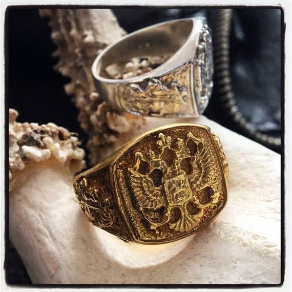 Etherial Jewelry - Rock Chic Talisman Luxury Biker Custom Handmade Artisan Pure Sterling Silver .925 Imperial Double Headed Eagle Ring