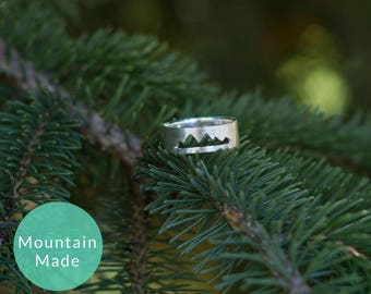 Silver Mountain Ring, Mountain Range Jewelry, Gifts for Him, Gifts for Her, Adventure Jewelry, Wanderlust Ring, Gender Neutral Silver Ring