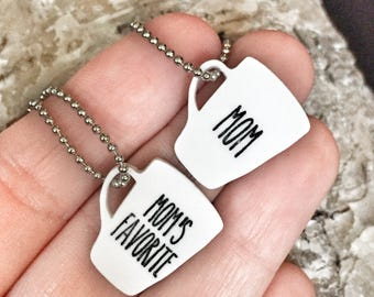 Rae Dunn Inspired Mother Daughter Necklace Set