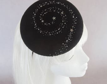 Starry Night Cocktail Hat. Black Hand Beaded Stars Fascinator. Holiday Party Hat. Couture Millinery Headpiece. Fancy Dressy Celestial Hat.