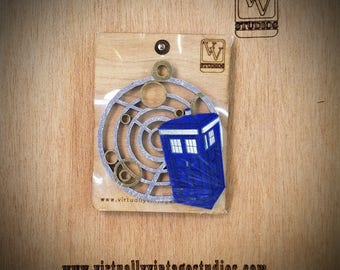 Full Color Tardis on Gallifreyan Christmas Ornament