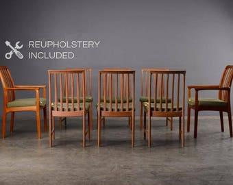 8 Mid Century Dining Chairs Teak Danish Modern Folke Ohlsson