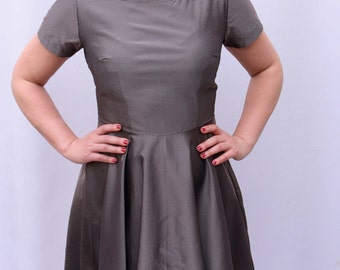 UK Size 12-14  Brown Dress silky circle skirt dress full skirt hand sewn short sleeved handmade by The Emperor's Old Clothes