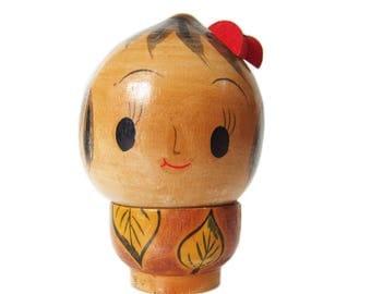 Adorable Chestnut Head (Donguri) Kokeshi Doll with Big Eyes. Vintage Kokeshi Doll. Japanese Kokeshi Doll. Japanese Doll. Sosaku Kokeshi.