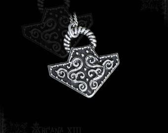 handmade Mjolnir pendant, thor hammer, viking pendant necklace, pagan jewelry, viking metal,