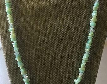 "Laraine - ""By the Sea"" - Aquamarine, Adventurine, and White Jade Necklace 26"""