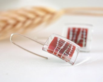 Red tartan earrings, Unique dangle, Sterling silver and glass, Hand painted, Unusual jewelry