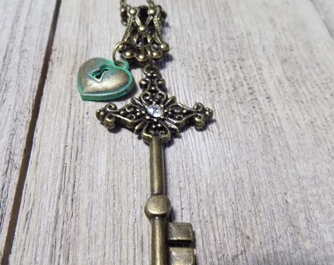 vintage style lock and key hand made necklace