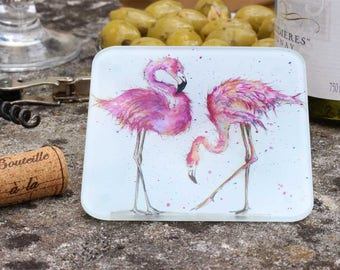 Flamingo Coaster - Flamingo Gift, Glass Coaster, Drinks Mat, Bird Gift, Flamingo Decor