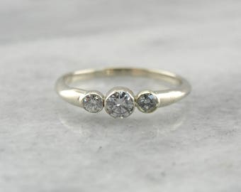 Sleek Bezel Set Diamond Three Stone Engagement Ring, Modern and Contemporary Engagement 0Y0XPK-N
