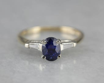 Classic Sapphire Engagement Ring, Sapphire and Diamond Ring JDCJFQ84-D