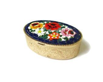 Large Micro Mosaic Box /Cobalt Blue Italian Micromosaic Dresser Box/ Millefiori Trinket Ring Box/Gold Tone Repousse/ Acanthus Leaves Compact