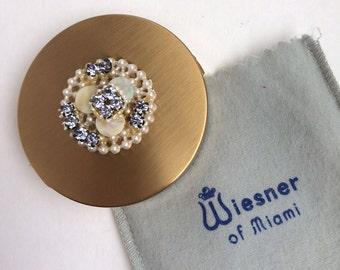 Vintage Wiesner of Miami Powder Compact   Rhinestone Ladies Makeup Holder   Brushed Gold Cosmetics Puff   GreenTreeBoutique