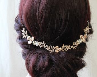 Rose Gold Bridal Back Headpiece, Wedding Hair Vine,  Wedding Headpiece,   Bridal Hair Vine , UK
