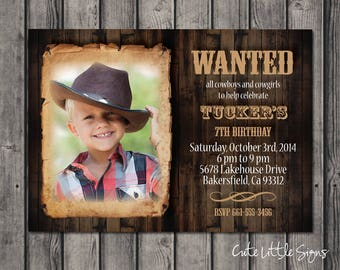 Wanted Poster Country Birthday Invitation Digital Download