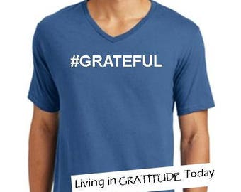 Men's, Maritime Blue, V neck, #GRATEFUL tee, Recovery tee, 12 step tee, inspirational tee, yoga, positive vibes, urban wear, street wear