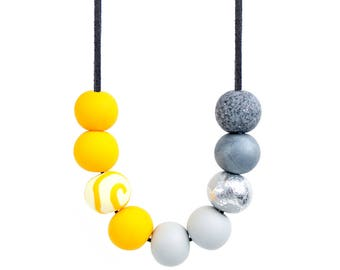 Yellow and Grey Statement Necklace, Yellow and Grey Bead Necklace, Chunky Bead Necklace, Statement Bead Necklace, Mustard and Grey Necklace