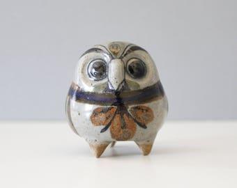 Small Jorge Wilmot Owl Rattle Figurine Tonala Mexico Pottery Handmade Mid Century Mexican