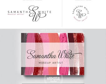 makeup artist brush 3 brand initials businesscards simple modern feminine branding- logo Identity for artist makeup and wedding photographer