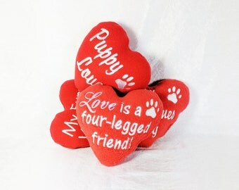 Valentine Dog Toy with Squeaker, Squeaky Dog Toy Made in US, Love is a four-legged friend, Plush Squeaker Dog Toys, Dog Valentine Gift