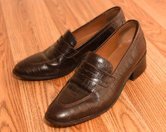 Vintage Ralph Lauren Leather Loafers - 90s Moc Croc Penny Loafers Ladies Size 8.5 B