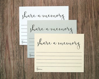 Share A Memory Card - Wedding Bridal Shower Guestbook Cards - Retirement Party - Funeral Memorial Card - Celebration Of Life Keepsake