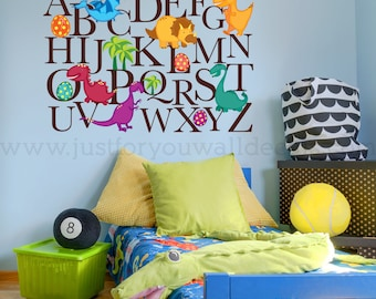 Alphabet Wall Decal, Nursery Wall Decal, Dinosaur Wall Decal, Dinosaur Alphabet Wall Decal, Playroom Wall Decal, Wall Decal 01-0054