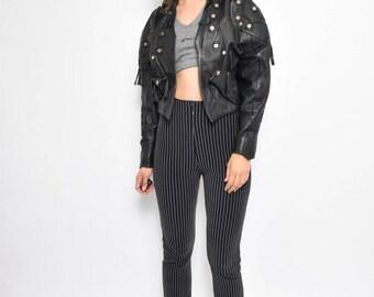 Vintage Black Leather Jacket / Cropped Leather Jacket / 80's Leather Jacket