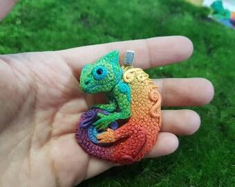Rainbow Chameleon Pendant