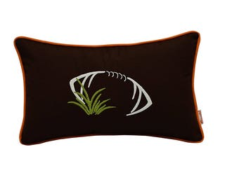 Touchdown Decorative Lumbar Football Throw Pillow Cover w/Insert in your Favorite Team's Colors (Brown, Orange & White)