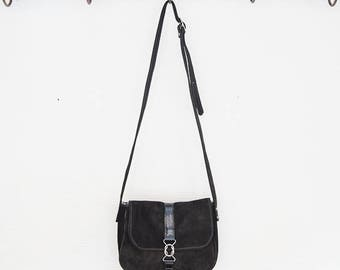 Small shoulder bag black nubuck and Black Snake