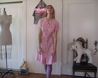 1940's Cotton Day Dress sz Sm