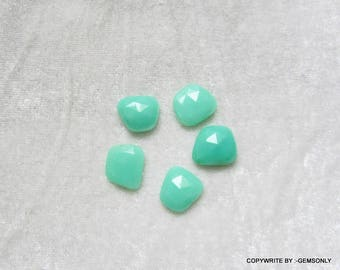 5pc 25.50ct CHRYSOPRASE rosecut chrysoprase uneven shape gemstone un even rosecut resemble emerald apple green stone green chrysoprase