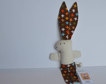 Soft Bodied Big Eared Bunny (brown print)