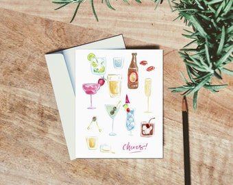 Cheers - New Years - Bachelorette Party - Galentines Day Card - Birthday Card