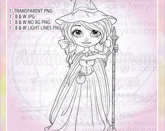 Traveling Witch UNCOLORED Digital Stamp Coloring Page jpeg png jpg Craft Cardmaking Papercrafting DIY