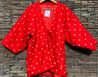 Vintage Hanten Kimono Jacket Red Polka Dot Japanese Fleece Padded Kimono Gift for Her Gift for Him