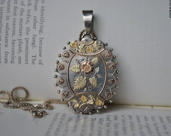 Antique Sterling Locket - 1881 Victorian, Aesthetic Movement Locket, Large Locket, Mixed Metals