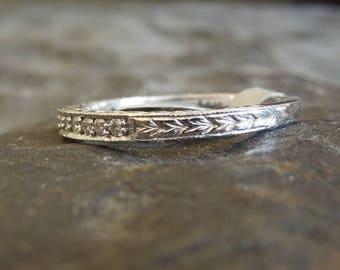 Art Deco Stye Engraved Diamond Wedding Band