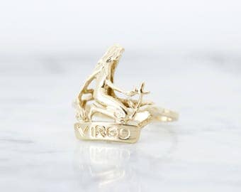Vintage Virgo Ring | Vintage Zodiac Jewelry | Estate Fine Jewelry | September Birthday | Valentines Day Gift for Her | Size 7.75 Sizable